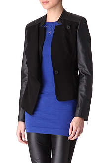 KAREN MILLEN Faux-leather sleeves blazer
