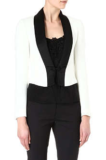 KAREN MILLEN White and black tuxedo jacket