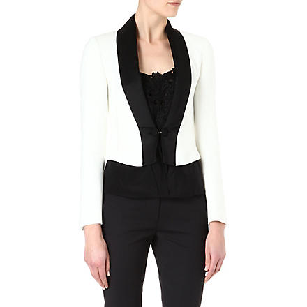 KAREN MILLEN White and black tuxedo jacket (White