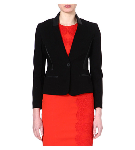KAREN MILLEN Tailored collarless jacket (Black