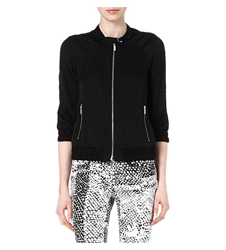 KAREN MILLEN Soft bomber jacket (Black