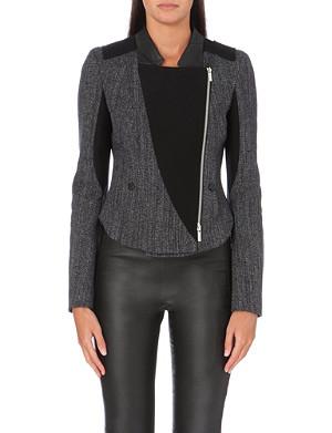 KAREN MILLEN Tweed asymmetric biker blazer