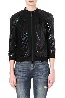 KAREN MILLEN Sequinned bomber jacket