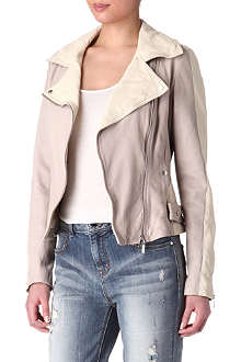 KAREN MILLEN Colourblock leather jacket