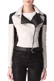 KAREN MILLEN Mixed biker jacket