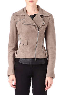 KAREN MILLEN Khaki leather biker jacket