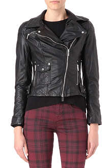 KAREN MILLEN Leather jacket with silver poppers