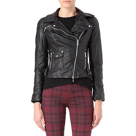 KAREN MILLEN Leather jacket with silver poppers (Black