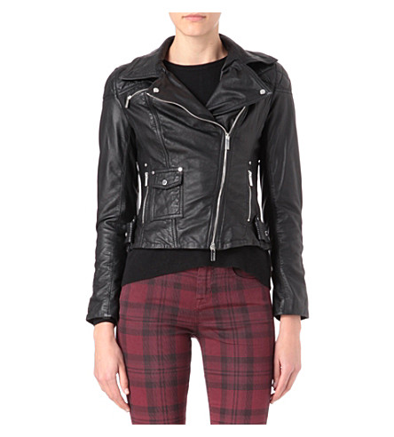 KAREN MILLEN Leather jacket with silver poppers (Black
