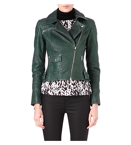 KAREN MILLEN Leather biker jacket (Green