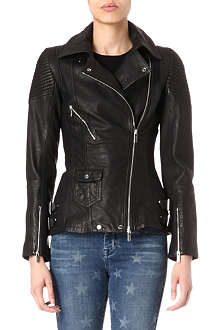 KAREN MILLEN Long line leather biker jacket