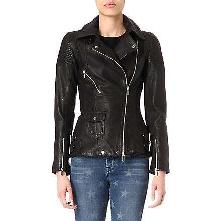 KAREN MILLEN Long line leather biker jacket (Black