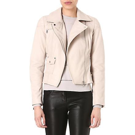 KAREN MILLEN Signature leather biker jacket (Stone