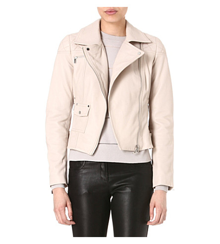 KAREN MILLEN Signature leather biker jacket (Stone