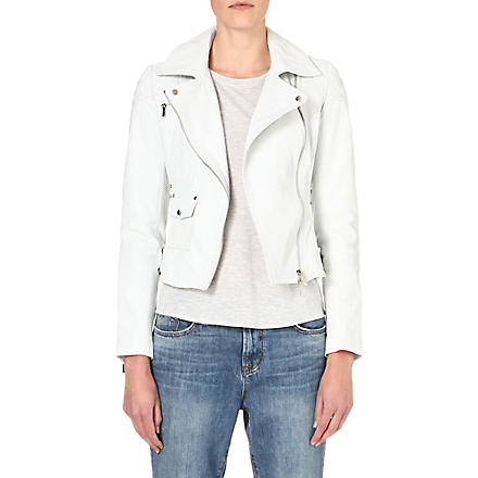 KAREN MILLEN Signature leather biker jacket (White