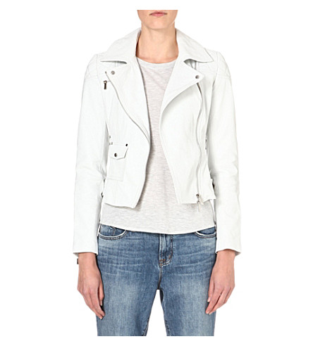 KAREN MILLEN Signature leather biker jacket (White