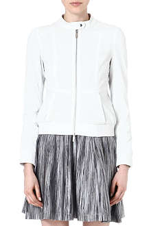 KAREN MILLEN Punched leather bomber jacket