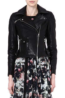 KAREN MILLEN Signature glossy-leather biker jacket