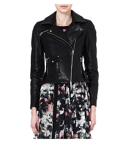 KAREN MILLEN Signature glossy-leather biker jacket (Black