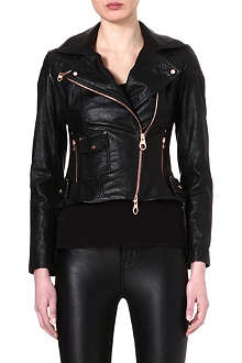 KAREN MILLEN Rose gold-zipped leather jacket