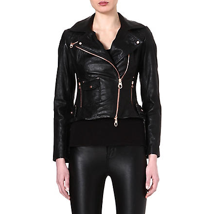 KAREN MILLEN Rose gold-zipped leather jacket (Black