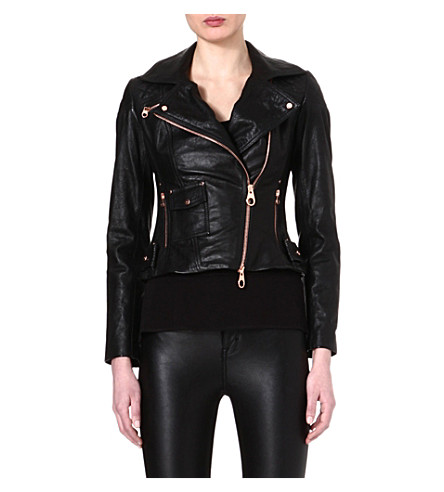 KAREN MILLEN Rose-gold zipped leather jacket (Black