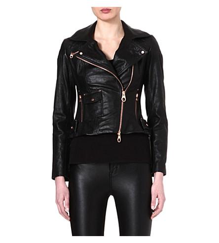 KAREN MILLEN Rose gold-zipped leather jacket (Black