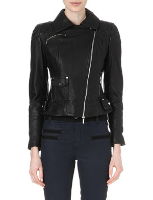 KAREN MILLEN Signature matte-leather biker jacket