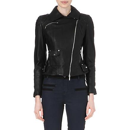 KAREN MILLEN Signature matte-leather biker jacket (Black