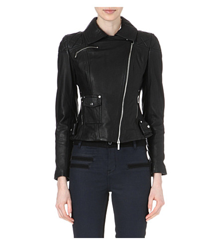 KAREN MILLEN Signature matte-leather biker jacket (Black