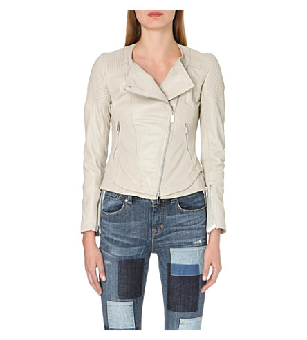 KAREN MILLEN Leather biker jacket (Stone