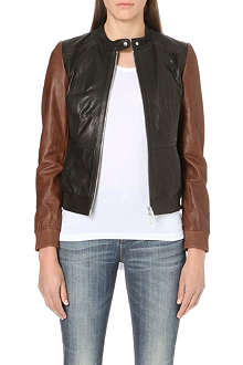 KAREN MILLEN Colour block leather bomber jacket