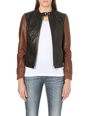 KAREN MILLEN Colour block leather bomber jacket