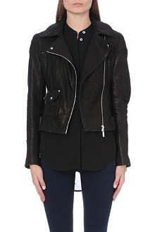 KAREN MILLEN Signature grained-leather biker jacket