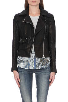 KAREN MILLEN Signature metallic-detail leather biker jacket