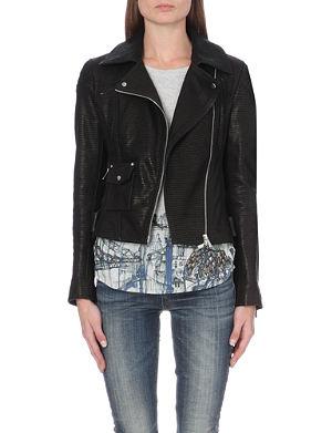 KAREN MILLEN Signature metallic-detail leather biker jacket