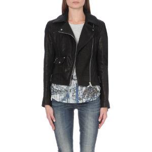 Signature metallic-detail leather biker jacket