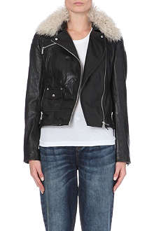 KAREN MILLEN Shearling-collar leather jacket