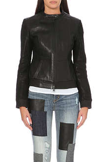 KAREN MILLEN Leather bomber jacket