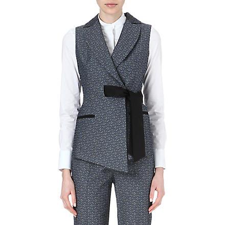 KAREN MILLEN Tailored jacquard waistcoat (Blue