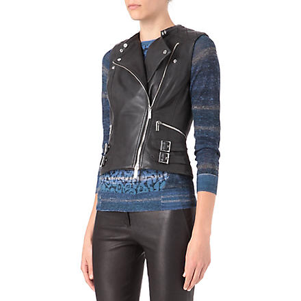 KAREN MILLEN Leather biker gilet (Black