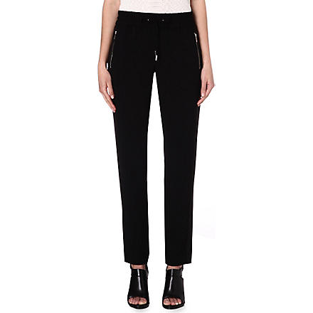 KAREN MILLEN Zip-detailed tailored trousers (Black