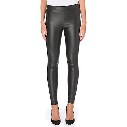 KAREN MILLEN Faux leather jersey leggings (Black