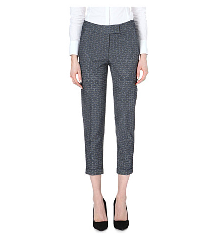 KAREN MILLEN Tailored jacquard trouser (Blue