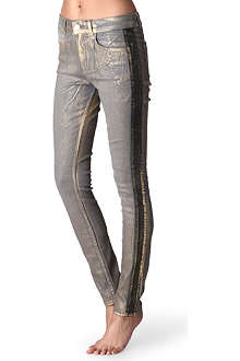 KAREN MILLEN Metallic high-rise jeans
