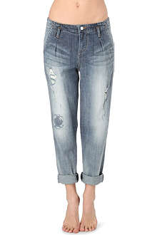 KAREN MILLEN Distressed boyfriend high-rise jeans