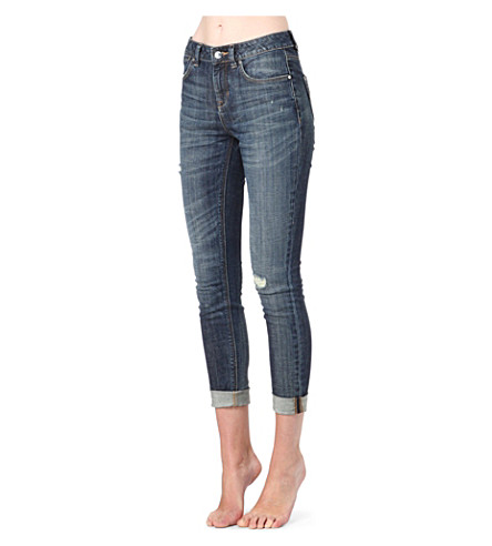 KAREN MILLEN Faded skinny mid-rise jeans (Denim