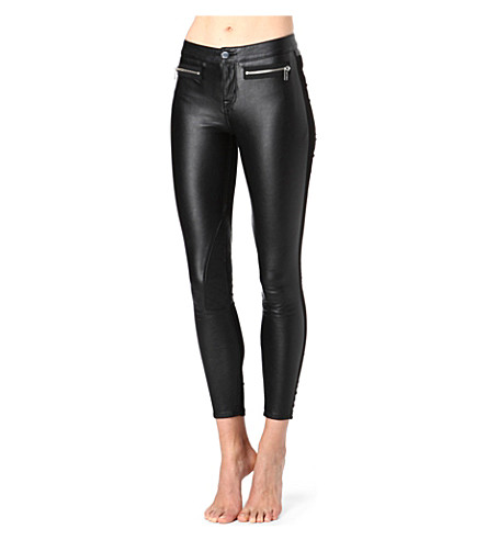 KAREN MILLEN Faux-leather skinny mid-rise jeans (Black