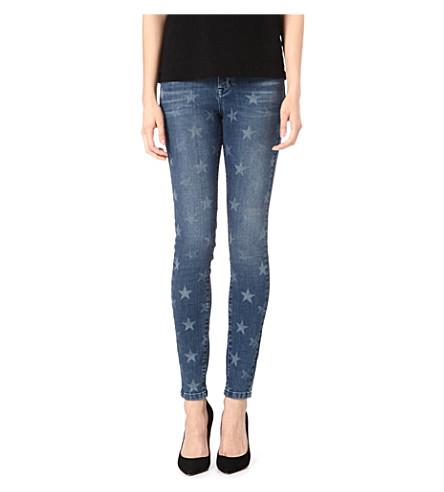 KAREN MILLEN Star-print skinny mid-rise jeans (Denim