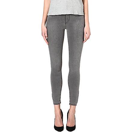 KAREN MILLEN Snake-print skinny mid-rise jeans (Grey